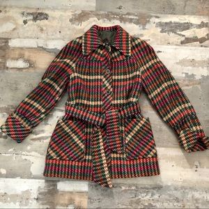 Gorgeous vintage wool blend plaid pea coat sz 9/10